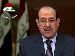 Reconciliation ... Iraqi Primi Minister Nuri al-Maliki delivering a televised speech in Baghdad last night.