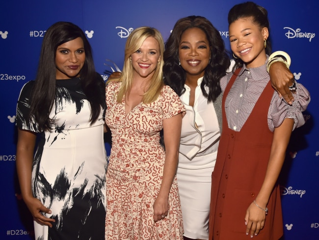Mindy Kaling, Reese Witherspoon, Oprah Winfrey, and Storm Reid at Disney's D23 EXPO 2017 in California. Photo: Alberto E. Rodriguez/Getty