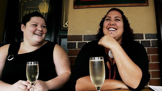 Drinks: The pair sip glasses of champagne for Casey's 18th birthday in2006. Picture: AAP