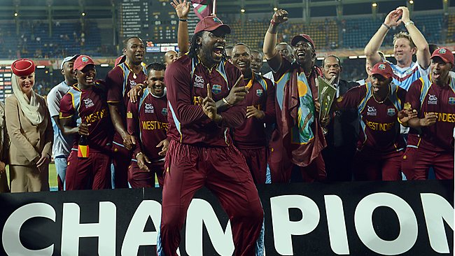 Chris Gayle celebrates Gangnam Style after the West Indies' recent triumph in the ICC World Twenty20 in Sri Lanka.