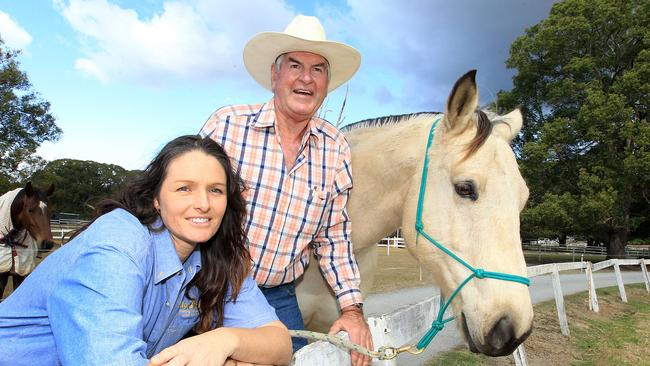 Gold Coast identity Allan Cottrell and his daughter Trudy Leeke who are selling up Tallebudgera's iconic Tally Park agistment centre