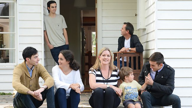 Rachael Robertson is stepmum to Julian, Anthony, Georgina and Doug. She is also pictured with her partner Ric Lamont, and child, Louis. Picture: Andy Drewitt