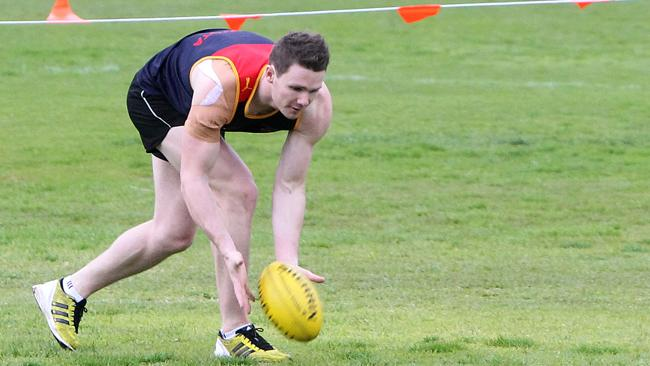 Injured Adelaide Crows midfielder Patrick Dangerfield at training on Wednesday.