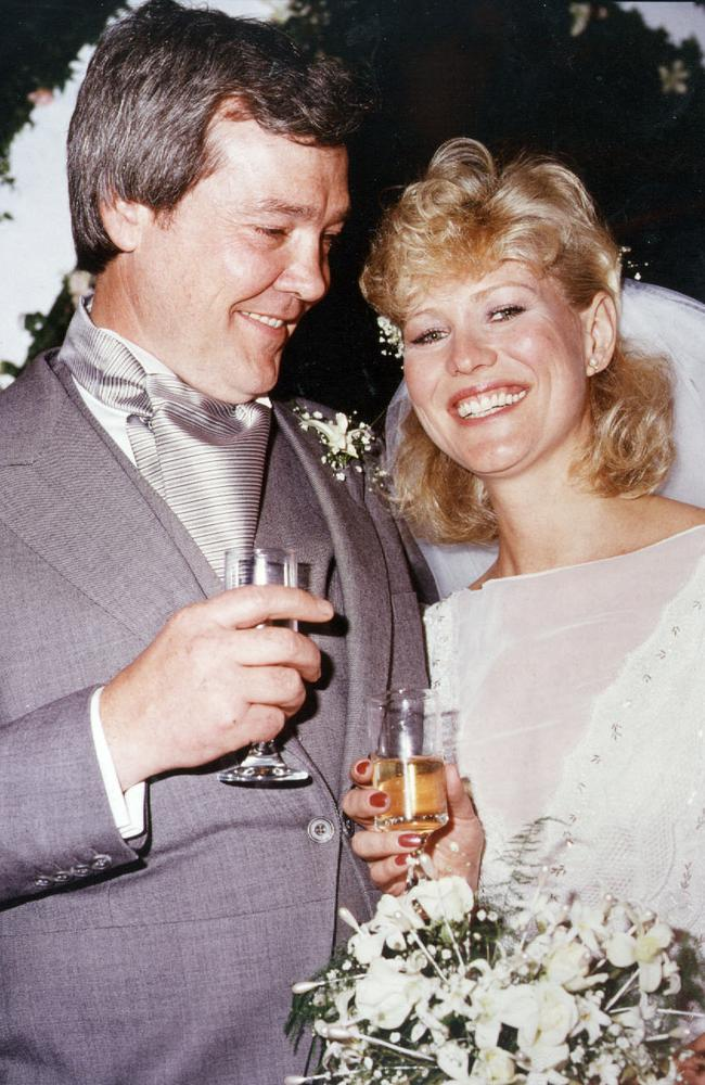 Kerri-Anne Kennerley with husband John after their wedding at the Sydney Opera House in 1984. Picture: Supplied