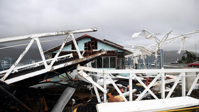 Severe damage to a boat terminal at Shute Harbour, Airlie Beach. Picture: AAP.