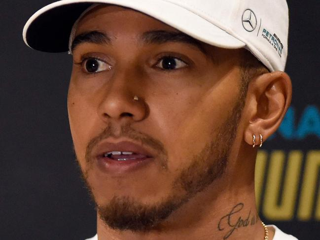 British F1 driver Lewis Hamilton attends a press conference in Mexico City on October 25, 2017, ahead of the Formula One Mexico Grand Prix next October 29. / AFP PHOTO / ALFREDO ESTRELLA