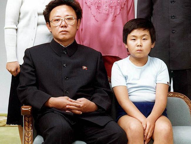 A 1981 of Kim Jong-nam pictured with his father, the late North Korean leader Kim Jong-il. Picture: Yonhap News Agency/AP