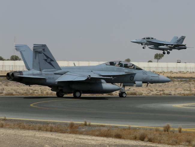 Twin beasts ... RAAF Super Hornets on the taxiway.
