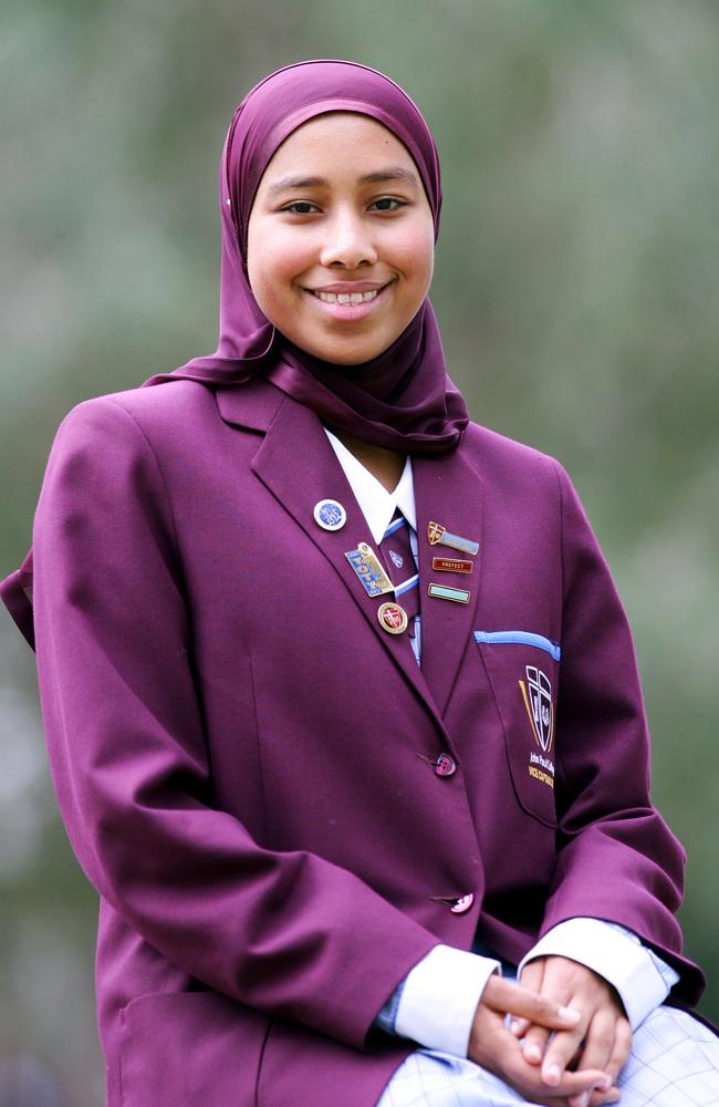 Yassmin Abdel-Magied as a Brisbane schoolgirl when she was made 2007 Young Muslim of the Year. Picture: Darren England.