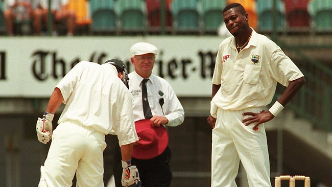 Ricky Ponting and Curtly Ambrose