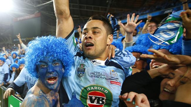 Jarryd Hayne celebrates. Picture: Bradley Hunter