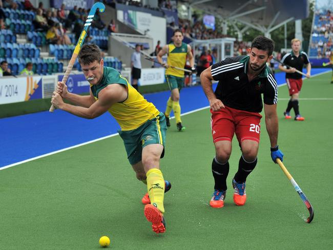 Matt Gohdes of Australia vies with Michael Shaw of Wales.