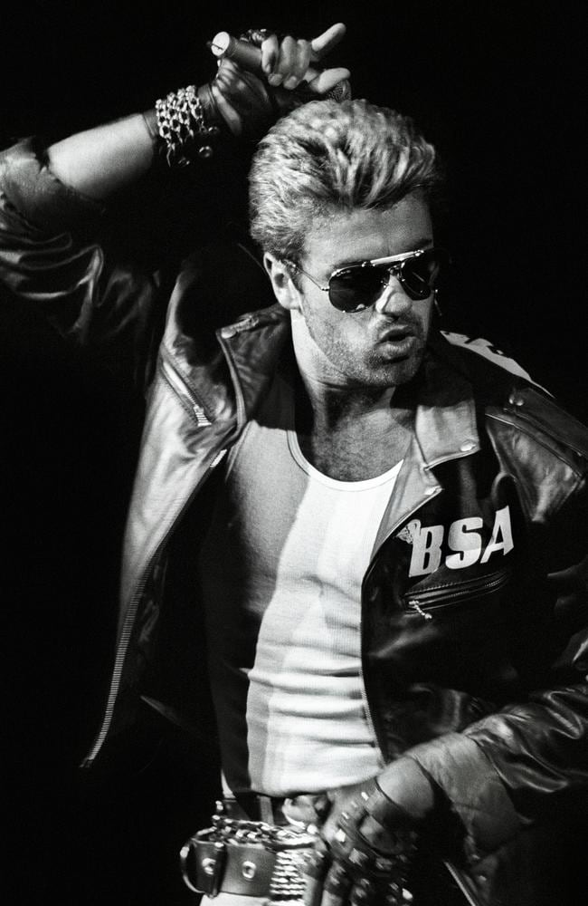 George Michael performs on stage, wearing a leather jacket and sunglasses, on the Faith Tour in Rotterdam, Netherlands, in 1988. Picture: Rob Verhorst/Redferns