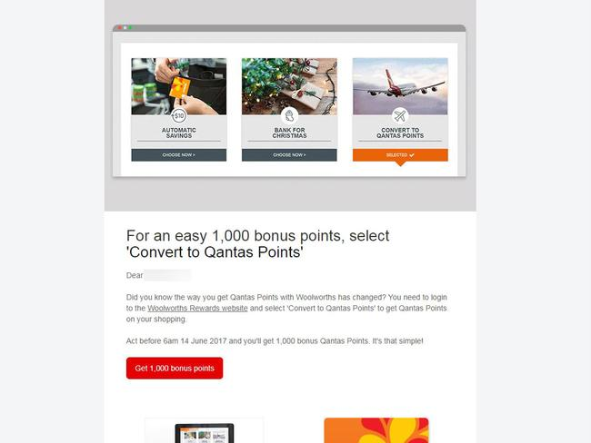 An email from Qantas regarding the Woolworths Rewards Card.
