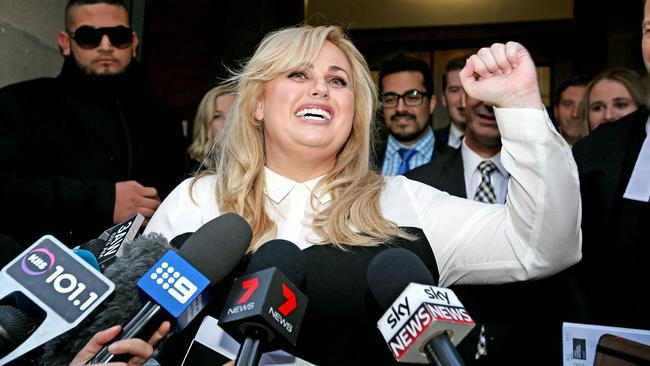 Rebel Wilson speaks after winning her defamation case in June. Picture: Tim Carrafa