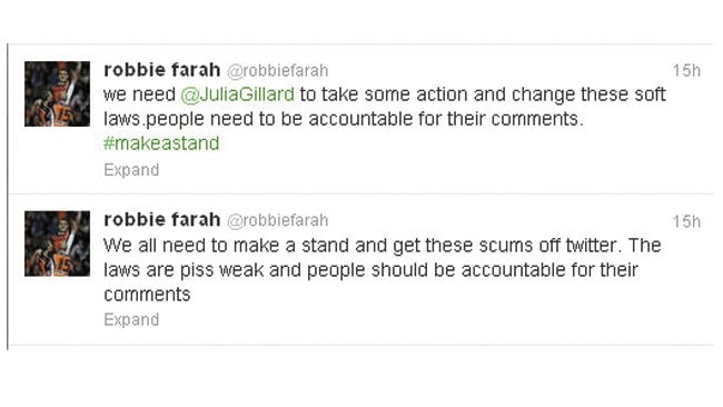 Robbie Farah has used Twitter to call for tougher laws against trolls.