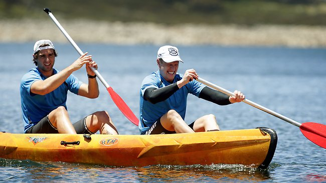 Recruit Josh Caddy (right), kayaking with Shane Kersten, has impressed the Geelong crew since joining the club. Picture: Michael Klein
