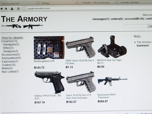 Screen grabs from the dark web — weapons on The Armory. Pic Mark Cranitch