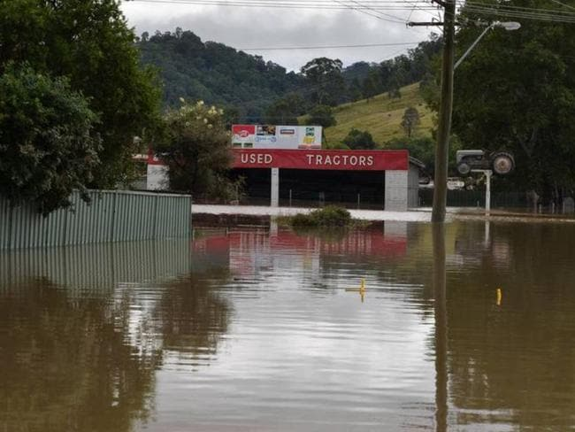 The township of Dungog is seen flooded following torrential rain and storms across NSW.