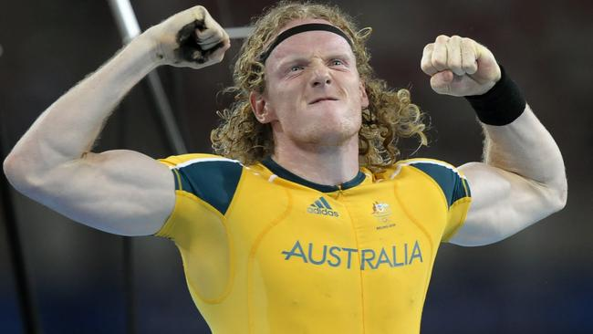 Steve Hooker celebrates after winning Olympic gold in Beijing. Picture: AFP