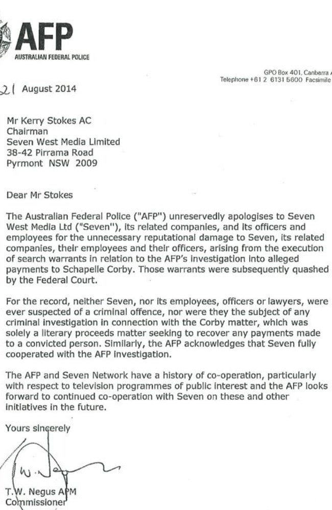 The apology letter ... sent by AFP Commissioner Tony Negus. Picture: Supplied