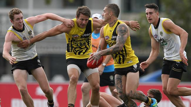 Dustin Martin gets a centre clearance during Richmond's intra-club. Picture: Wayne Ludbey