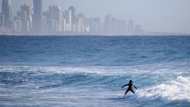 Burleigh Boardriders youngest member, Mason Lewis, 5, surfing at Burleigh. Picture by Scott Fletcher