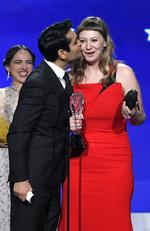 Kumail Nanjiani and Emily V. Gordon accept Best Comedy for 'The Big Sick' onstage during The 23rd Annual Critics' Choice Awards at Barker Hangar on January 11, 2018 in Santa Monica, California. Picture: AFP