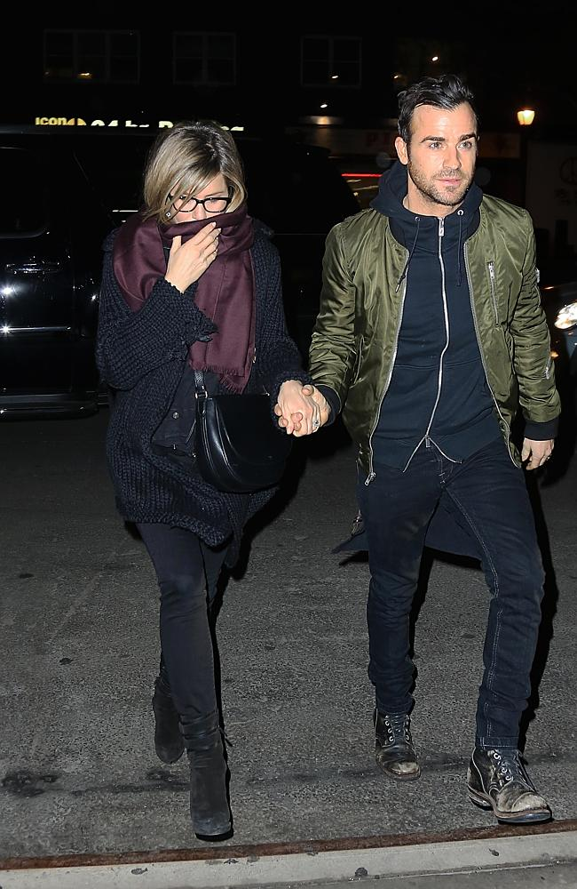 Justin Theroux and Jennifer Aniston have a night out in Tribeca, NYC