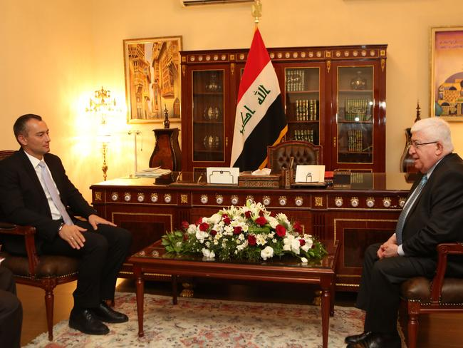Presidential power ... New Iraqi President Fouad Massoum, right, meets with Nickolay Mladenov, United Nations envoy to Iraq, at the Presidential Office in Baghdad last month. Source: AP