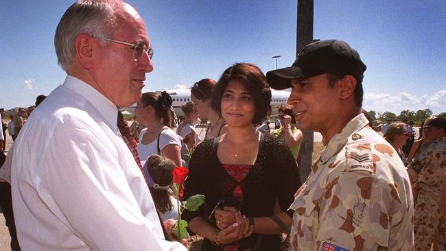 Previous involvement...Former Prime Minister John Howard at Tindal RAAF Base in Darwin in 2003 welcoming home servicemen & women after deployment in the Middle East during war with Iraq. Picture: kellie Block/News Corp Australia