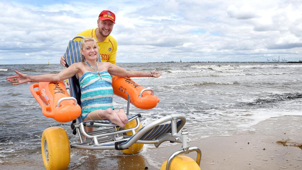 Disabled Beach Access With Floating Wheelchairs At Port