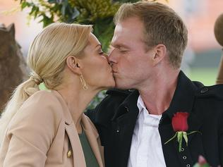 Sophie Monks first kiss on the Bachelorette with Jarrod. picture: Channel 10.
