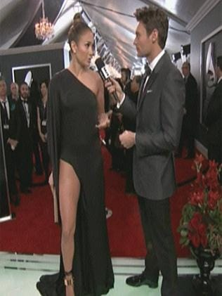 Jennifer Lopez during an interview on the red carpet woth CBS. Picture: Twitter/BuzzFeed