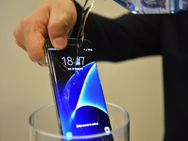 Waterproof ... The new Samsung Galaxy S7 can survive being submerged in water for up to 30 minutes. Picture: Jennifer Dudley