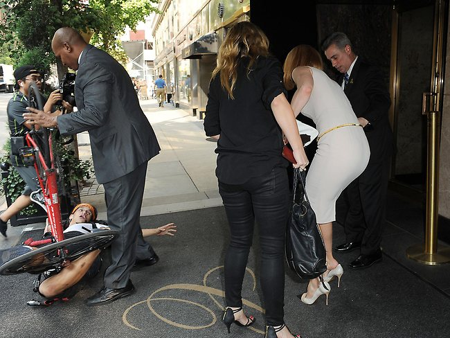 A paparazzo loses control and crashes into Nicole Kidman in New York. Picture: Snapper