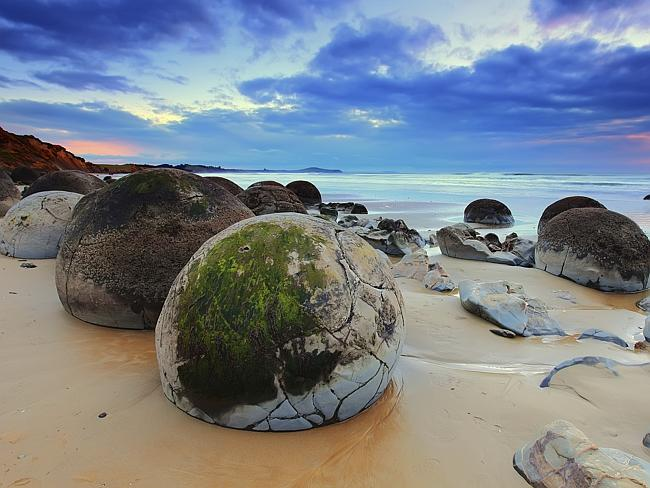 The boulders formed millions of years ago on the ancient sea floor.