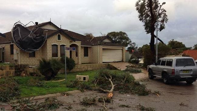 Storm damage in a Beeliar street. Picture: Jayde Quinn/Perth Weather Live