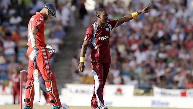 Dwayne Bravo tells Ravi Bopara where to go after dismissing the England all-rounder.