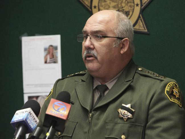 Shasta County sheriff Tom Bosenko addresses the media during a press conference. Picture: Andreas Fuhrmann /The Record Searchlight