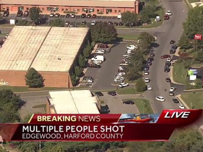 Multiple people were shot at Advanced Granite Solutions in the Emmorton Business Park. Picture: WBALTV11