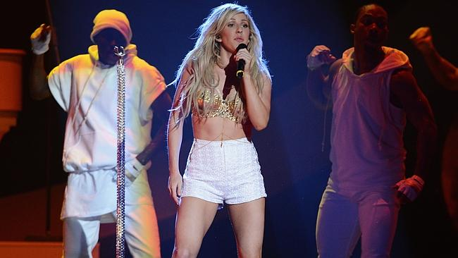 All about the singing ... Ellie Goulding performs at The BRIT Awards 2014on February 19 in London. Picture: Ian Gavan/Getty Images