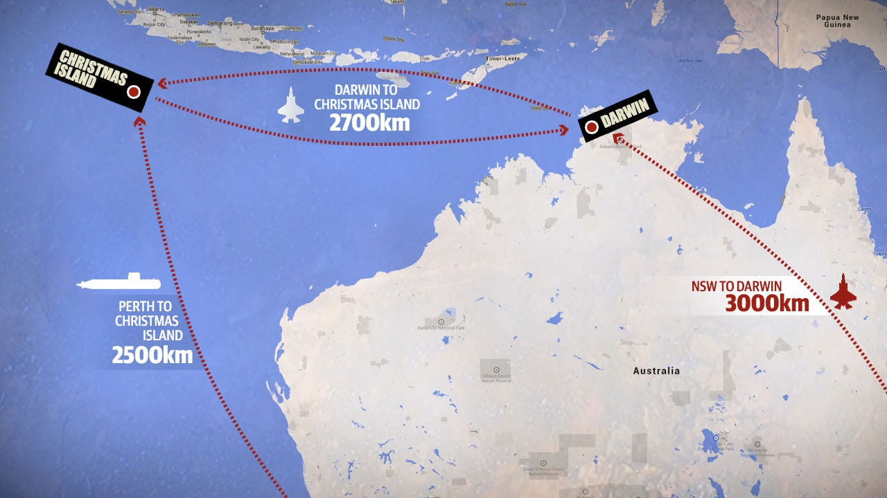 The next war Can Australia put up a fight – Map of Christmas Island and Australia
