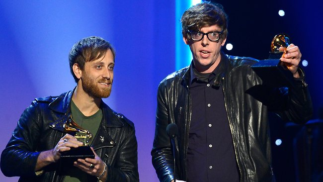 "Musicians Dan Auerbach (left) and Patrick Carney of The Black Keys accept the Best Rock Album Award for ""El Camino""."