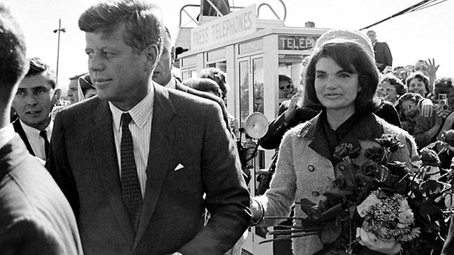 President John Kennedy and his wife arrive at Love Field airport in Dallas in 1963. Picture: AP