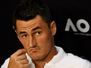 Bernard Tomic of Australia during a press conference at the Australian Open in Melbourne, Saturday, Jan. 14, 2017. (AAP Image/Tracey Nearmy) NO ARCHIVING