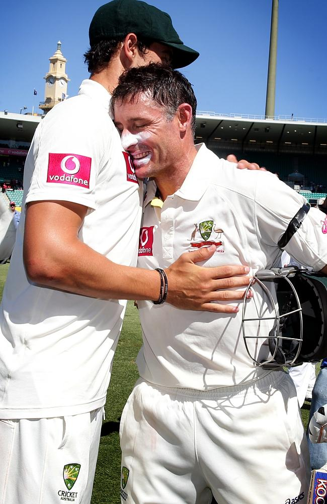 Mike Hussey (R) and Mitchell Starc were Test teammates. Pic Gregg Porteous