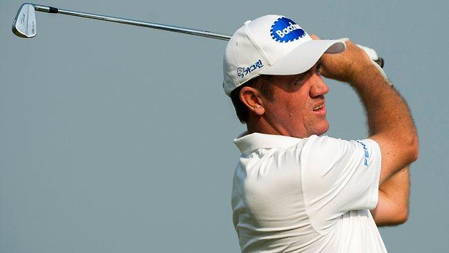Scott Hend of Australia hitting a shot during the third round of the Macau Open golf tournament.