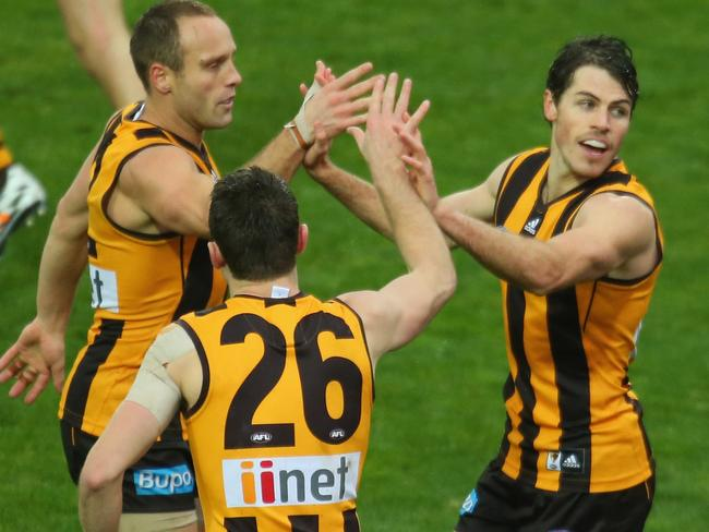Isaac Smith kicked two goals in one minute to break the game open for Hawthorn. Photo by Scott Barbour
