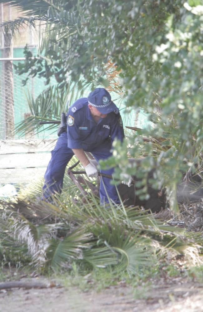Lismore police at the site where Simone Strobel's body was found beneath palm fronds on the Continental Club bocce courts in February 2005. Picture: Mike Batterham
